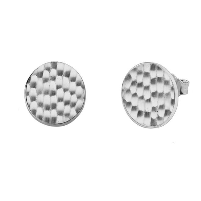 White Gold Hammered Round Stud Earrings