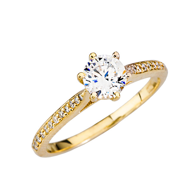 Yellow Gold Dainty and Elegant Diamond with White Topaz Center Stone Engagement Proposal Ring