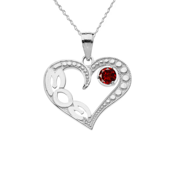 January Garnet (LC) 'MOM' Heart Pendant Necklace in White Gold
