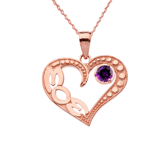 February Amethyst (LC) 'MOM' Heart Pendant Necklace in Rose Gold