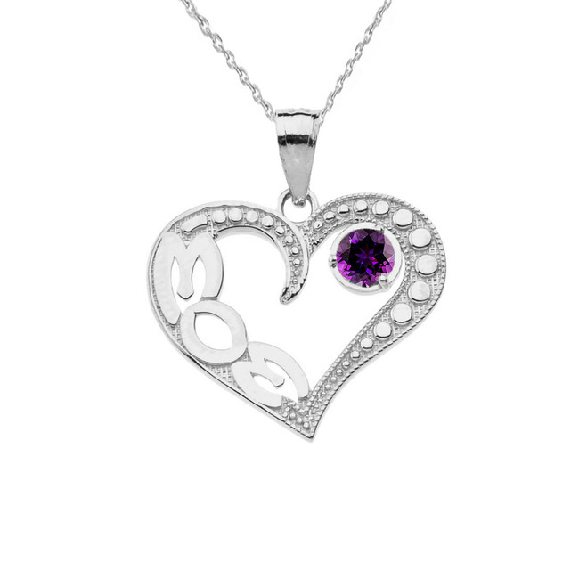 February Amethyst (LC) 'MOM' Heart Pendant Necklace in White Gold