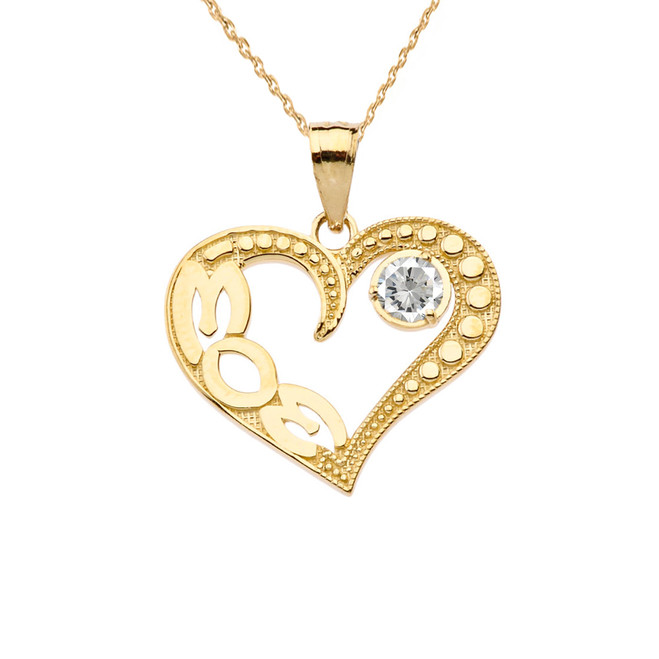 April Clear CZ 'MOM' Heart Pendant Necklace in Yellow Gold