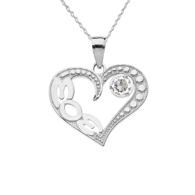 April Clear CZ 'MOM' Heart Pendant Necklace in White Gold