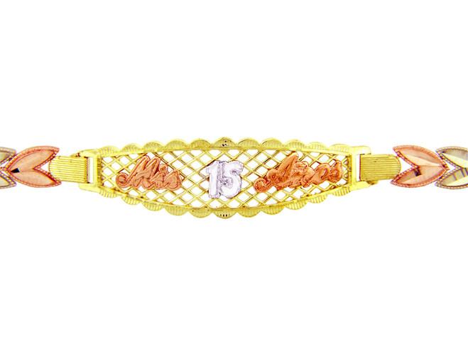 Tri-Color Gold Bracelet - The Mis 15 Anos Diamond Cut Bracelet