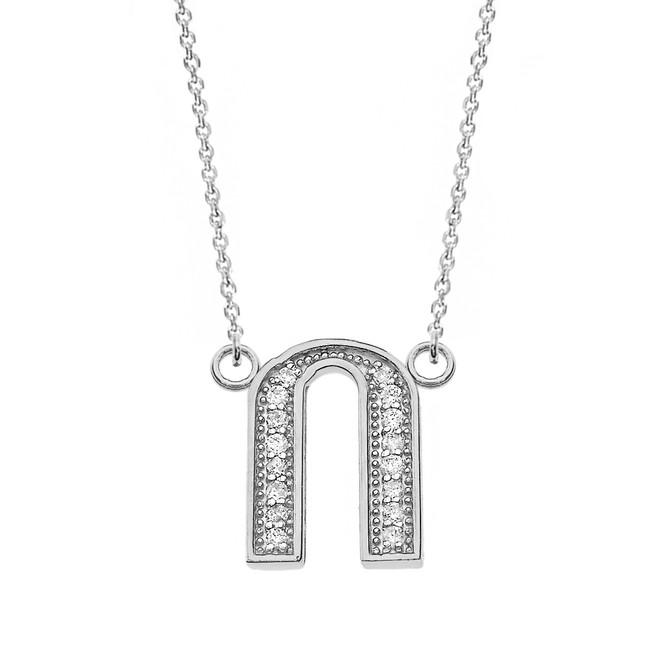 "14K Solid White Gold Armenian Alphabet Diamond Initial ""O"" Necklace"