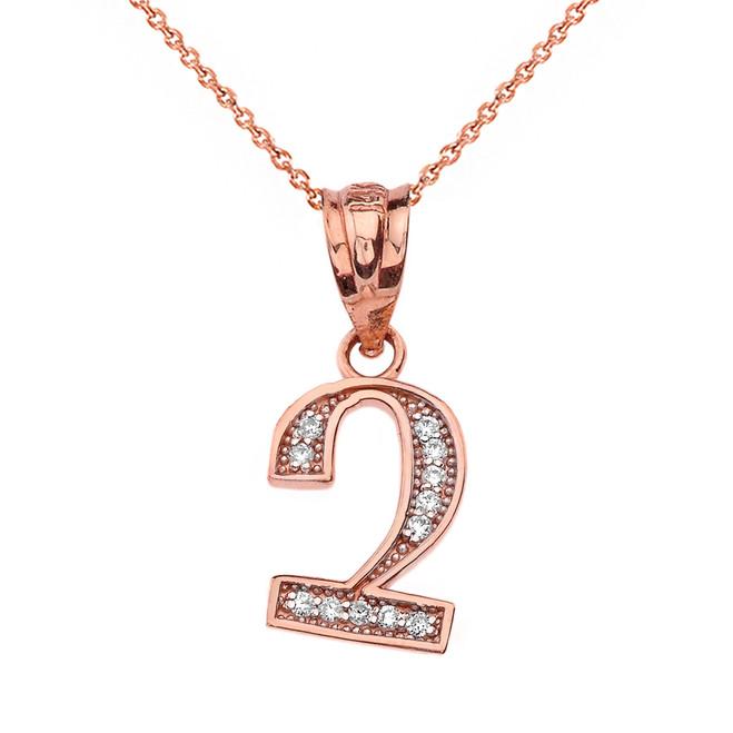 "Solid Rose Gold Armenian Alphabet Diamond Initial ""Chu"" Pendant Necklace"