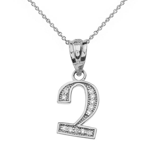"Solid White Gold Armenian Alphabet Diamond Initial ""Chu"" Pendant Necklace"