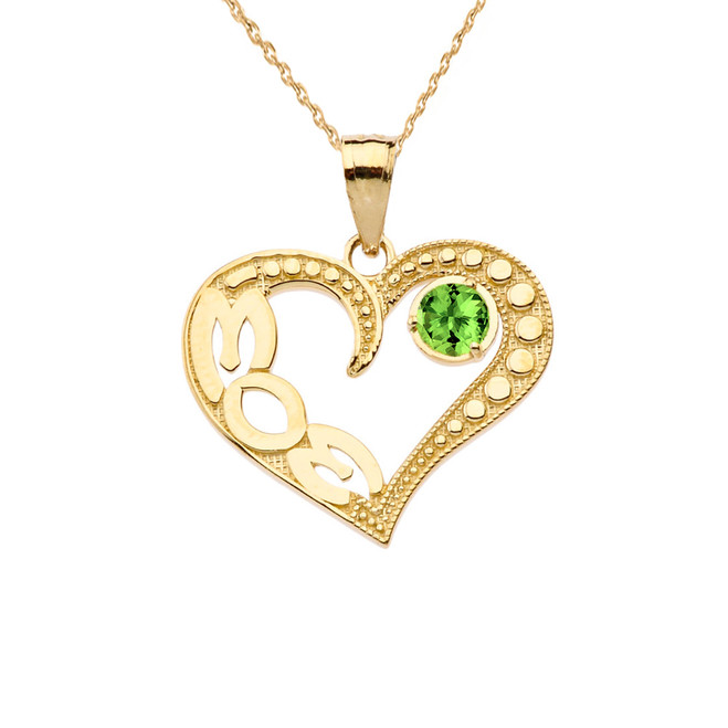 August Peridot (LC) 'MOM' Heart Pendant Necklace in Yellow Gold