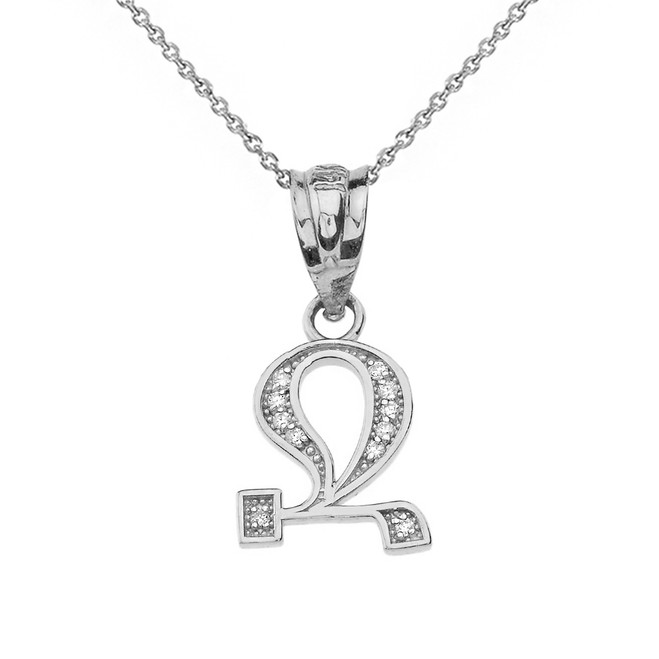 "Solid White Gold Armenian Alphabet Diamond Initial ""Jh"" Pendant Necklace"