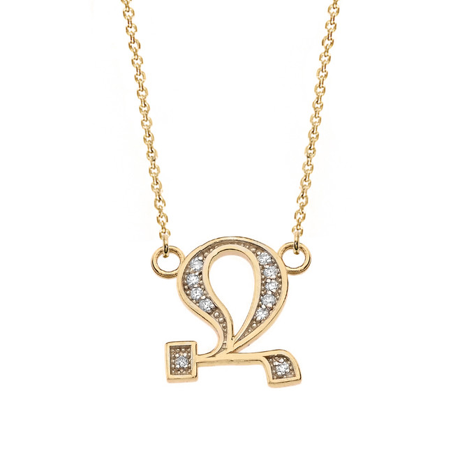"""14K Solid Yellow Gold Armenian Alphabet Diamond Initial """"Jh"""" or  """"B"""" Necklace"""