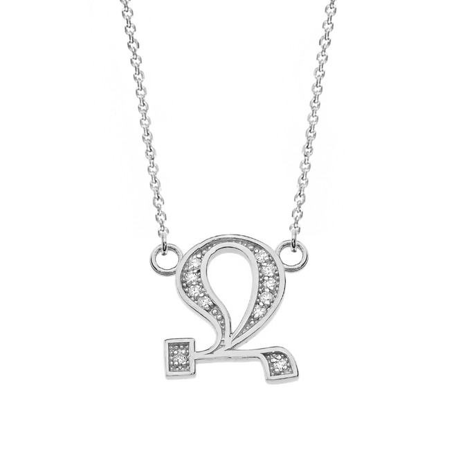 """14K Solid White Gold Armenian Alphabet Diamond Initial """"Jh"""" or  """"B"""" Necklace"""