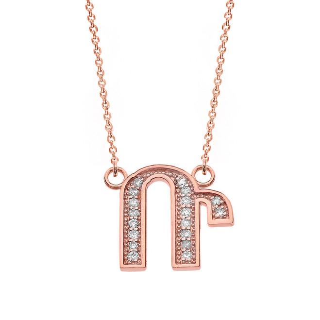 "14K Solid Rose Gold Armenian Alphabet Diamond Initial ""R"" Necklace"