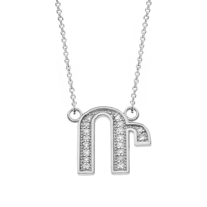 "14K Solid White Gold Armenian Alphabet Diamond Initial ""R"" Necklace"