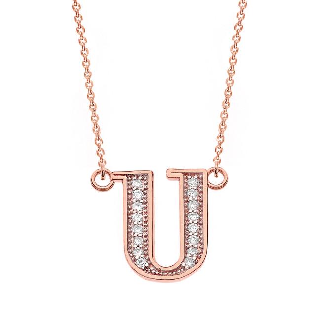 "14K Solid Rose Gold Armenian Alphabet Diamond Initial ""S"" Necklace"