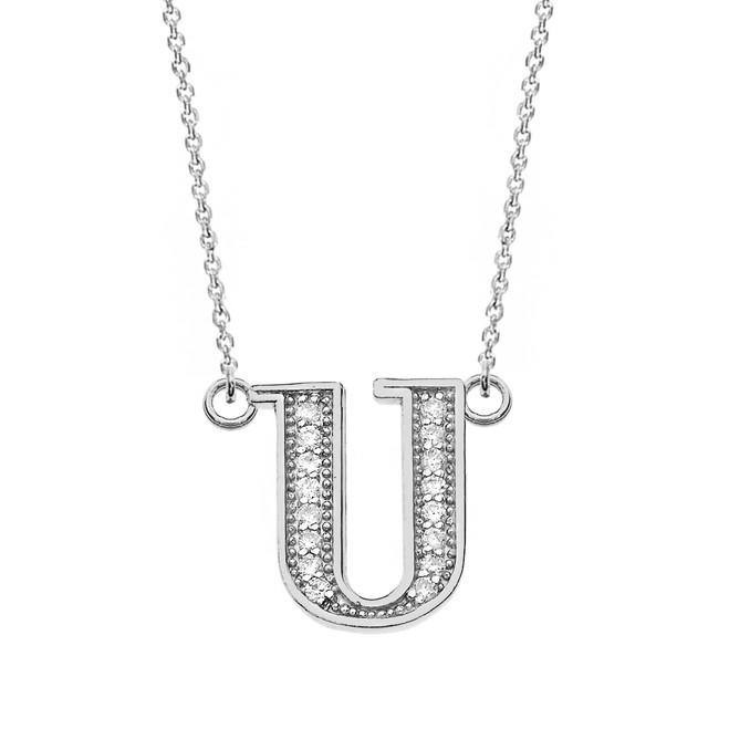 "14K Solid White Gold Armenian Alphabet Diamond Initial ""S"" Necklace"