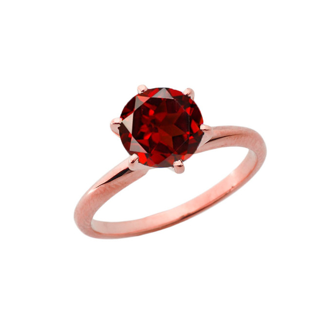 Rose Gold 3.0 ct January Garnet (LC) Solitaire Engagement Ring