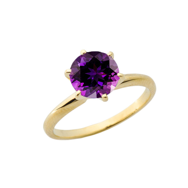 Yellow Gold 3.0 ct February Amethyst (LC) Solitaire Engagement Ring