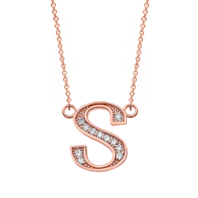 """14K Solid Rose Gold Armenian Alphabet Diamond Initial """"T"""" or """"D"""" Necklace"""