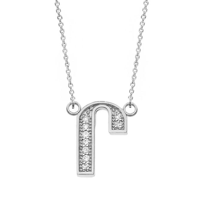 "14K Solid White Gold Armenian Alphabet Diamond Initial ""Ru"" Necklace"