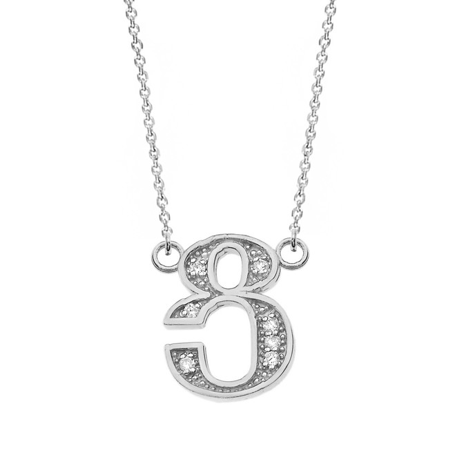 "14K Solid White Gold Armenian Alphabet Diamond Initial ""Tsu"" Necklace"