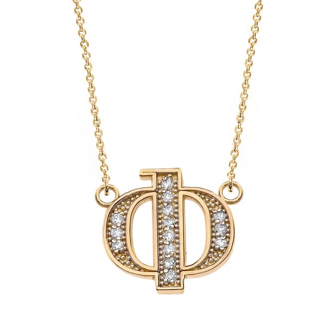 "14K Solid Yellow Gold Armenian Alphabet Diamond Initial ""F"" Necklace"