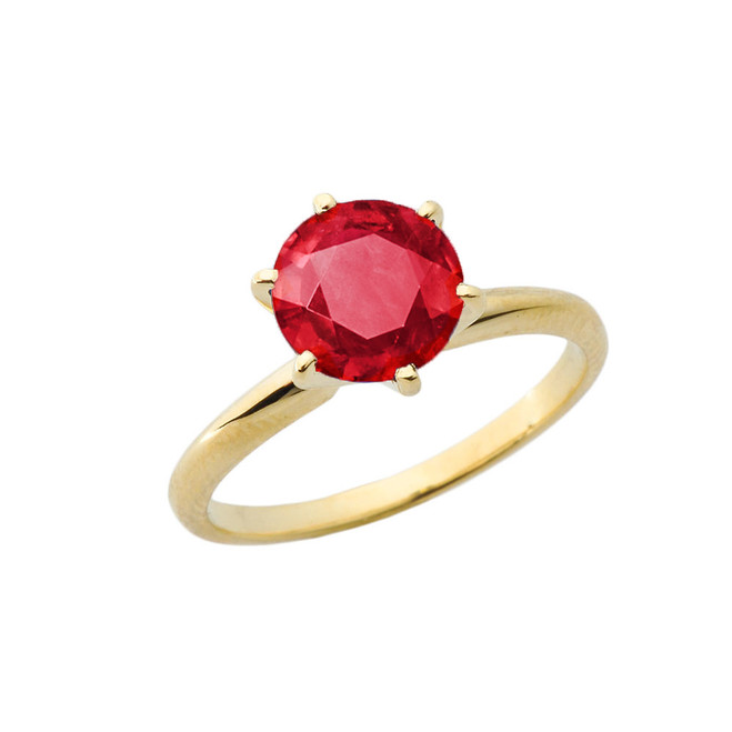 Yellow Gold 3.0 ct July Ruby (LC) Solitaire Engagement Ring