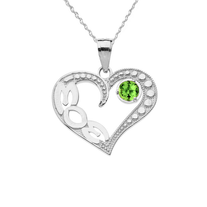 August Peridot (LC) 'MOM' Heart Pendant Necklace in Sterling Silver