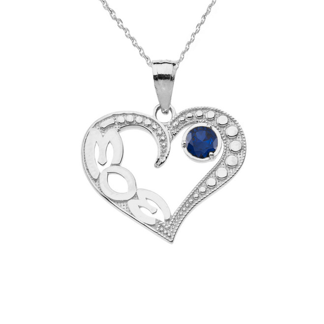 September Sapphire (LC) 'MOM' Heart Pendant Necklace in Sterling Silver