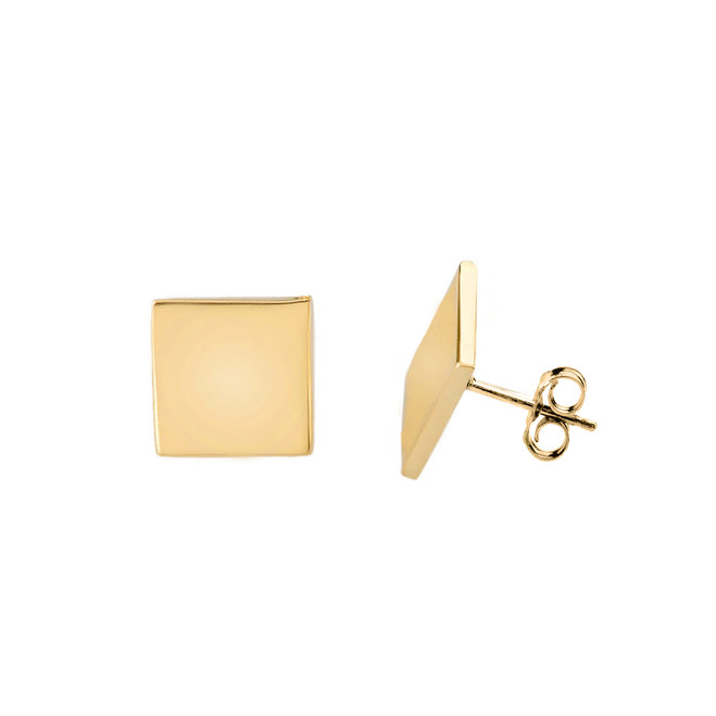 Solid Yellow Gold Simple Diamond Shaped Earrings