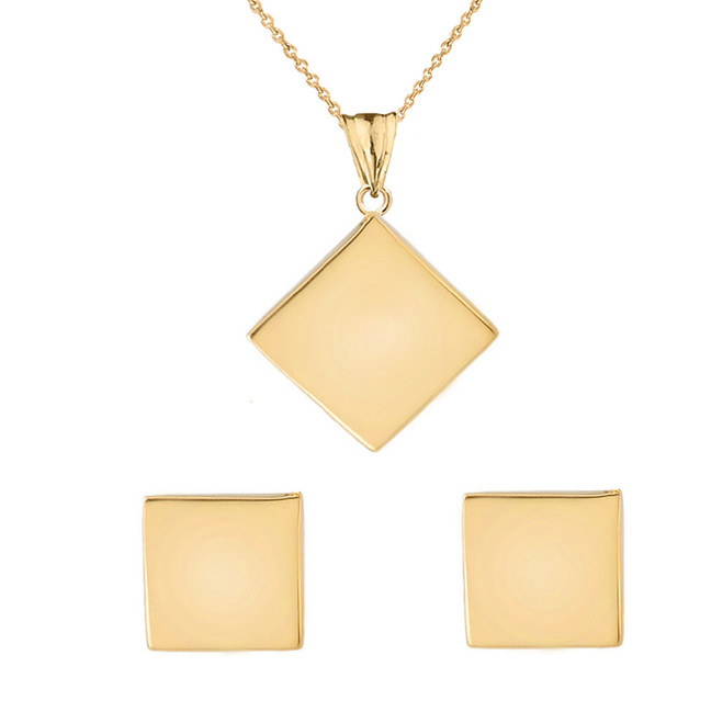 Solid Yellow Gold Simple Diamond Shaped Pendant Necklace And Earring Set