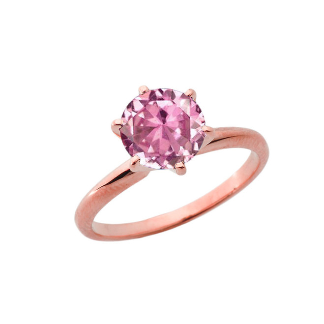 Rose Gold 3.0 ct Pink Cubic Zirconia Solitaire Engagement Ring