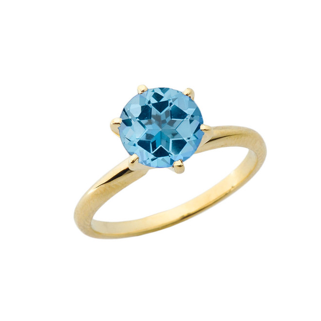 Yellow Gold 3.0 ct December Blue Topaz (LC) Solitaire Engagement Ring