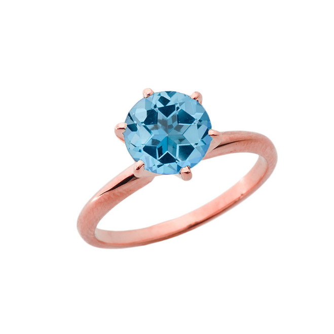 Rose Gold 3.0 ct December Blue Topaz (LC) Solitaire Engagement Ring
