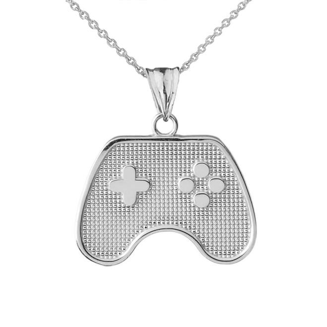 Game Control Pendant Necklace in White Gold