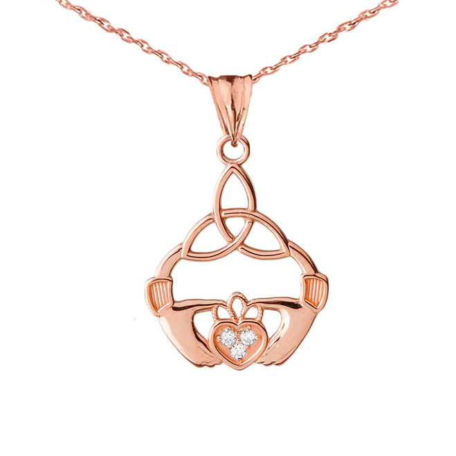 Diamond Trinity Knot Pendant Necklace in Rose Gold