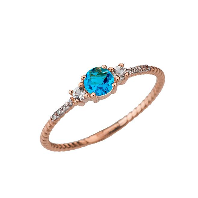 Elegant Blue Topaz and Diamond Rope Ring in Rose Gold