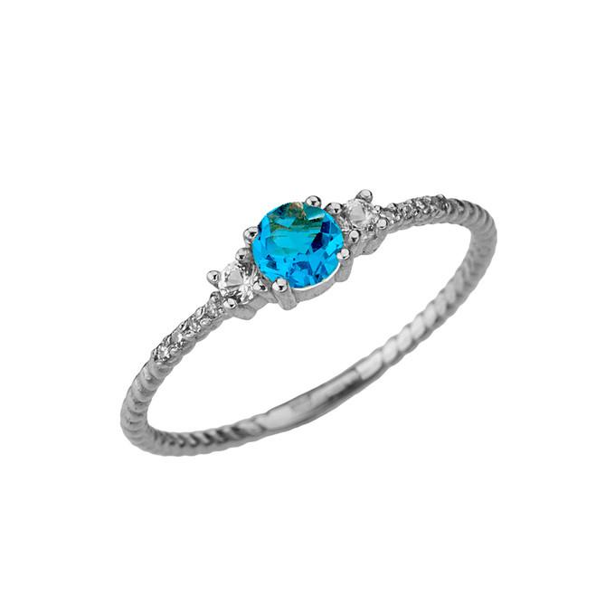 Elegant Blue Topaz and Diamond Rope Ring in White Gold