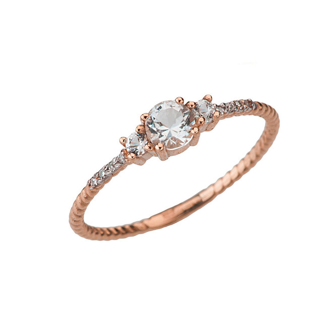 Elegant White Topaz and Diamond Rope Ring in Rose Gold