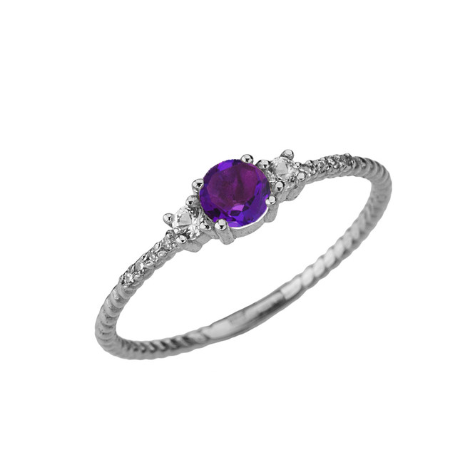 Dainty Elegant Amethyst and Diamond Rope Ring in White Gold