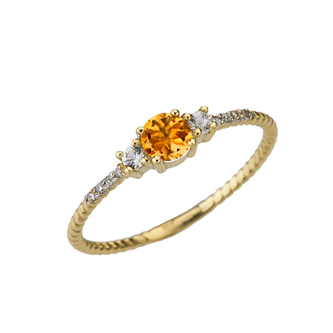 Dainty Elegant Citrine and Diamond Rope Ring in Yellow Gold
