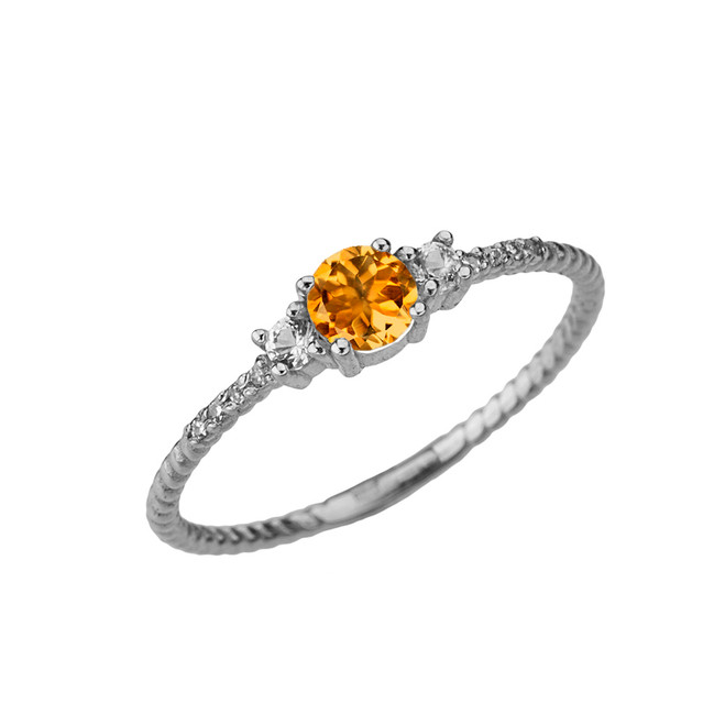 Dainty Elegant Citrine and Diamond Rope Ring in White Gold