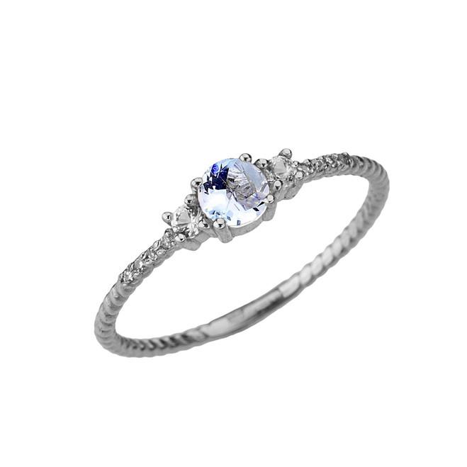 Dainty Elegant Aquamarine and Diamond Rope Ring in White Gold