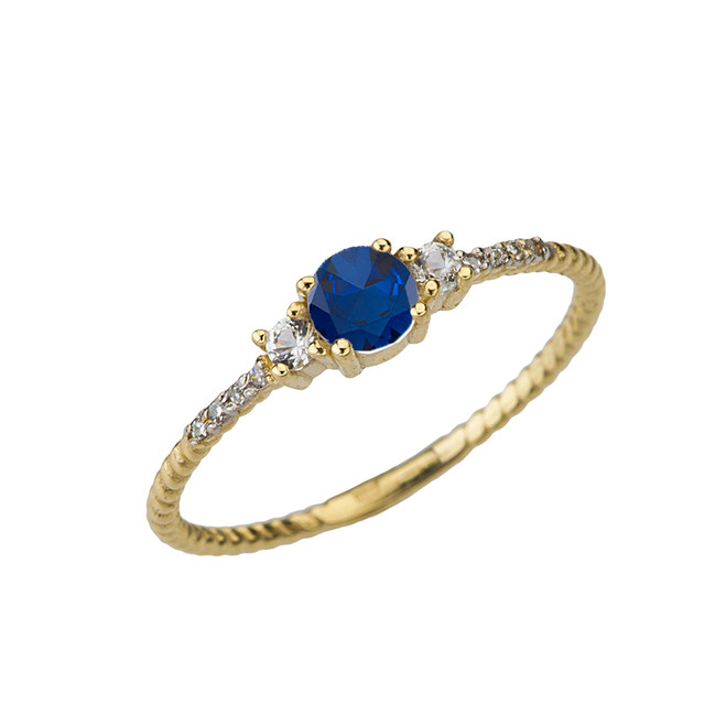 Dainty Elegant Sapphire and Diamond Rope Ring in Yellow Gold