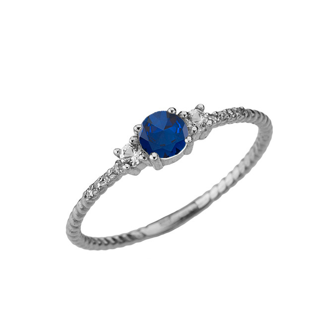 Dainty Elegant Sapphire and Diamond Rope Ring in White Gold
