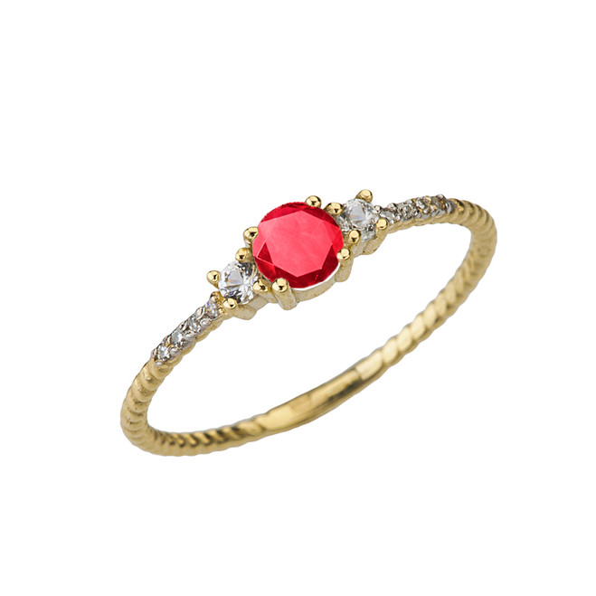 Dainty Elegant Ruby and Diamond Rope Ring in Yellow Gold