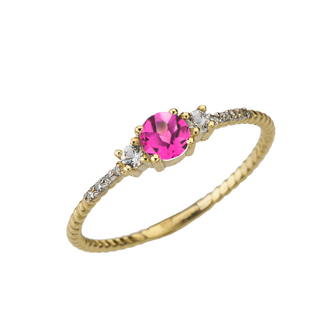 Dainty Elegant Alexandrite (LC) and Diamond Rope Ring in Yellow Gold