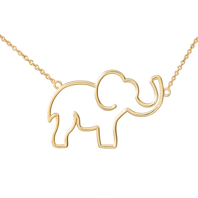 14K Yellow Gold Elephant Necklace
