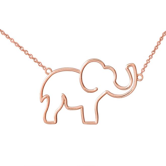 14K Rose Gold Elephant Necklace