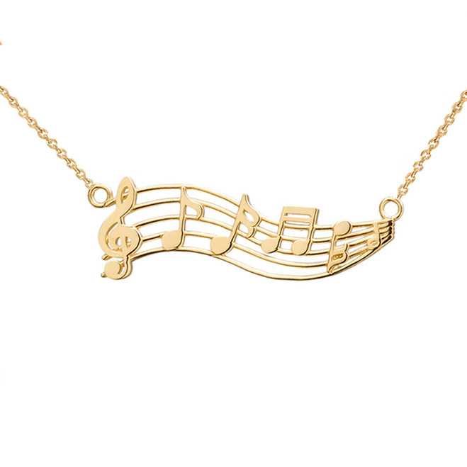 Horizontal Musical Notes Necklace in 14K Yellow Gold