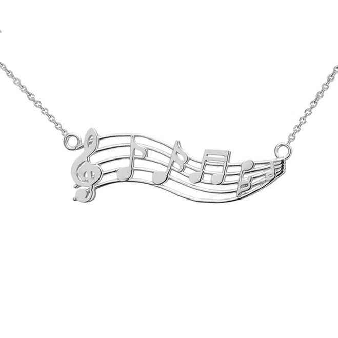 Horizontal Musical Notes Necklace in 14K White Gold
